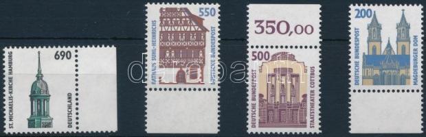 1993-1996 Building stamp 4 diff. stamps, 1993-1996 Látnivalók, épület 4 kül. bélyeg