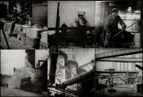 cca 1960 Kotnyek Antal (1921-1990) fotóriporter 3 db jelzés nélküli vintage fotója a borsodi ipartelepekről, a szerző hagyatékából, 18x24 cm és 18x18 cm közötti méretben + cca 1965 Kotnyek Antal (1921-1990) jelzetlen képriportja a diósgyőri Lenin Kohászati Művekből, 6 db vintage fotó a szerző hagyatékából, 13x13 cm
