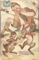 Márton L.-féle Cserkészlevelezőlapok Kiadóhivatala / Hungarian scout art postcard s: Márton L. (EK)
