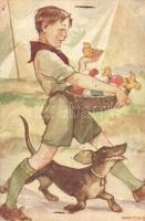 Márton L.-féle Cserkészlevelezőlapok Kiadóhivatala / Hungarian scout art postcard s: Márton L. (Rb)