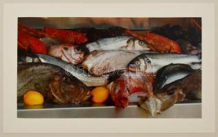 1993 Bándi András (?-?) budapesti fotóművész hagyatékából feliratozott, vintage fotóművészeti alkotás (Halak és citrom), 15x27 cm, karton 30x40 cm