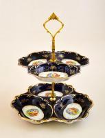 Forli kétszintes porcelán kínáló, matricás, jelzett, kopásokkal, m: 28 cm