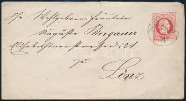 1871 5kr díjjegyes boríték PÁPA-TESZÉR (Gudlin 500 pont) - kék KISBÉR - WIEN - LINZ