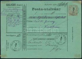 1874 Posta-utalvány GARADNA ABAUJ M. - KASSA (Gudlin 400 p)