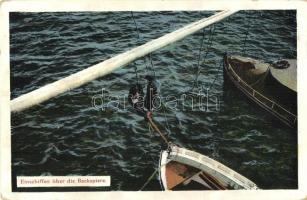 Einschiffen über die Backspiere. K.u.K. Kriegsmarine / WWI Austro-Hungarian Navy mariners embark on the boomkin. G. C. Pola 1912/13. (EK)