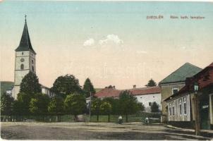 Svedlér, Svedlár; Római katolikus templom, tér / church and square