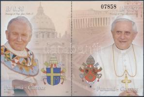 Pope John Paul II + Pope Benedict XVI block, II. János Pál pápa és XVI. Benedek pápa blokk