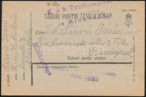 1917 Tábori posta levelezőlap / Field postcard K.u.k. Typhusspital ... in Miskolcz