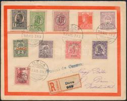 1919 Kolozsvári felülnyomású bélyegek Déva helyi ajánlott levélem, vegyes bérmentesítés román bélyegekkel, cenzúra bélyegzéssel. R!