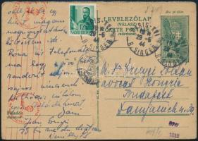 1944.05.29. 18f válaszos levelezőlap válaszrésze a párizsi Nevilly negyedből Budapestre. Igen ritka darab, RR!