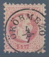 1867 5kr luxus ÖKÖRMEZŐ (Kárpátalja) bélyegzéssel (Gudlin 600 pont)