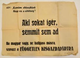 1945 Független Kisgazdapárt választási plakát, hajtott, szélein kis szakadások, 42x58 cm