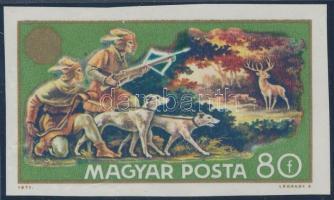 1971 Vadászati Világkiállítás 80f vágott bélyeg fekete színnyomat nélkül, ritka tévnyomat / Mi 2666 imperforate stamp, black colour omitted