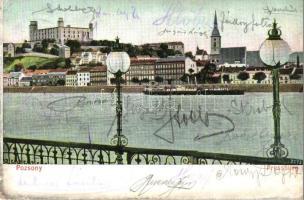 1907 Pozsony, Pressburg, Bratislava; látkép, rakpart, vár. Bediene dich allein / general view, quay, castle (Rb)