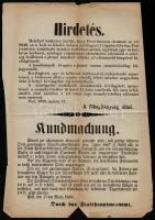 1868 Pest, Hirdetmény kocsik kivilágításáról, magyar ás német nyelvű, kis szakadásokkal, 39x26 cm