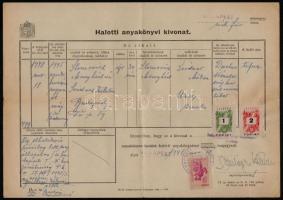 1948 1945-ben. Dachauban a koncentrációs táborban meghalt zsidó személy, 1948. nov. 18-án kiállított halotti anyakönyvi kivonata