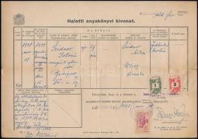 1948 1944 dec. 15. a jablonkai kórházban elhunyt zsidó személy 1948. nov. 18.-án kiállított halálozási értesítője