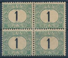 1903 Zöldportó 1f négyestömb számvízjellel, 1 bélyeg falcos