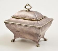 cca 1910 Angol ezüst (Ag) lábas dobozka, jelzett, 10×7×9,5 cm, nettó: 182,3 g / England, hallmarked sugar box, signed nett 182,3 g