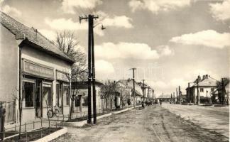 Zselíz, Zeliezovce; Fő utca, textil üzlet, kerékpár / main street, textile shop, bicycle