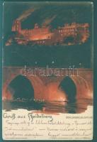 Heidelberg, Schlossbeleuchtung / castle at night, Edm. von König's Künstlerkarte No. 4. litho s: Kley