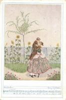 Romantic art postcard with music sheet. Deutscher Schulverein Karte Nr. 1225. s: Mela Koehler (EK)