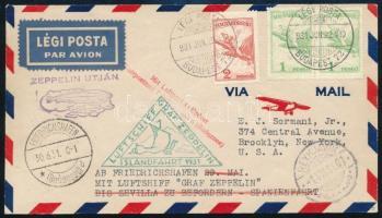 1931 Zeppelin izlandi repülése levél 2 x 1P + 2P bérmentesítéssel R