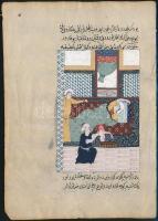cca 1800 (?) Arab? nyelvű kódexlap, egyik oldalán kézzel festett illusztrációval, szélén kis szakadással, 19,8×13,8 cm