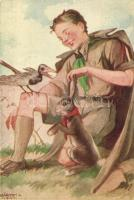 Márton L.-féle Cserkészlevelezőlapok Kiadóhivatala / Hungarian boy scout art postcard, rabbit s: Márton L. (EK)