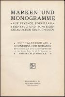 Jaennicke, Friedrich: Marken und Monogramme, auf Fayence, Porzellan, Steinzeug und Sonstigen Keramischen Erzeugnissen. Esslingen a. N.,(1878), Paul Neff Verlag (Max Schreiber.), XV+95 p. Német nyelven. Korabeli aranyozott egészvászon-kötésben, kopott gerinccel, 8 lap kijár./Half-linen-binding, 8 pages coming out, in German language.