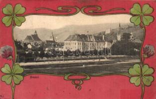 1917 Brassó, Kronstadt, Brasov; lóherés, szecessziós litho művészlap / Clover Art Nouveau litho frame (r)