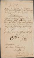 1847 Szemere Bertalan (1812-1869) 1848-49-es miniszterelnök német nyelvű munkáltatói igazolása szakácsnője részére, saját kezű aláírásával aláírásával
