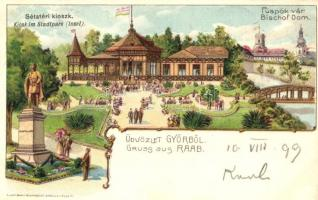 1899 Győr, Sétatéri kioszk, Püspöki vár. Luszt Ármin művészlapja. litho