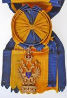 Ausztria 1884. Vaskorona Rend I. osztálya aranyozott és zománcozott gyűjtői másolat (~1960-as évek), vállszalaggal és rajta rozettával (78x45mm) T:2 Austria 1884. Order of the Iron Crown 1st Class gold plated and enamelled collectors replica (~1960s) with sash ribbon and rosette (78x45mm) C:XF