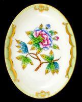 Herendi Viktória mintás porcelán tálka, kézzel festett, jelzett, hibátlan, 9,5×7,5 cm