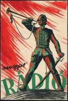 cca 1930 Magyar Rádió - dekoratív reklámplakátterv, 19×13 cm