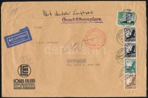 1937 Légi levél Argentínába 4,75 RM bérmentesítéssel, Airmail cover to Argentina with 4,75 RM franking