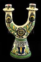 Páll Magdi (fazekas): Korondi gyertyatartó, festett mázas kerámia, jelzett, hibátlan, m: 25 cm