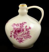Herendi rózsa mintás dísz kis váza, kézzel festett, jelzett, apró kopással, m: 8 cm