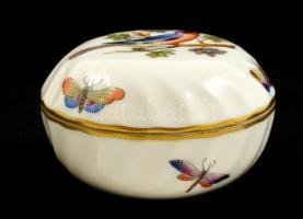 Herendi madaras ékszertartó, kézzel festett, jelzett, apró kopással, d:7 cm,