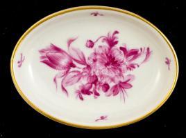 Herendi virág mintás tálka, kézzel festett, jelzett, apró kopással, 7,5×5,5 cm