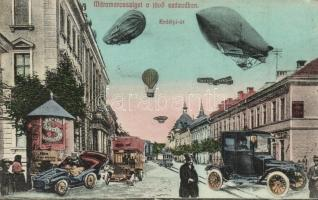 Máramarossziget, Sighetu Marmatiei; a jövőben montázslap: Erdélyi út a jövő században. Kiadja Kaufmann Ábrahám és fiai / in the future montage postcard: street view in the next century (EK)