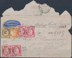 Franciaország 1873 Pénzes levél előlap magas bérmentesítéssel / France 1873 Cover front of insured cover