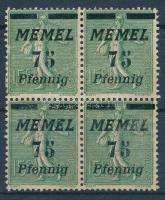 Block of 4, printed and overprinted on the backside, Négyestömb, hátoldali nyomat és felülnyomat