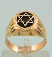 14k arany gyűrű judaika motívummal. Pecsétcsűrű. 4,8 g / 14 C gold judaica ring size: 66