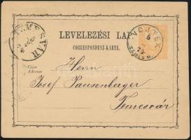 1874 2kr díjjegyes levelezőlap / PS-card VOJTEK/TEMES M. (Gudlin 600 pont) - TEMESVÁR