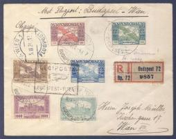 1924 (14. díjszabás) Ajánlott légi levél Bécsbe Madonna, Ikarusz és Parlament bérmentesítéssel, BUDAPEST-WIEN légi irányító bélyegzéssel / Registered airmail cover to Vienna with BUDAPEST-WIEN airmail cancellation