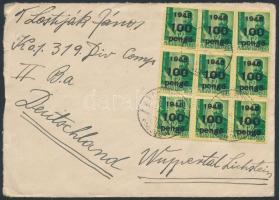 1945 (5. díjszabás) Levél Németországba címezve, de londoni érkezési bélyegzővel 30 db Kisegítő 100P/12f bélyeggel bérmentesítve