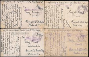 1918 4 db képeslap / 4 postcards BRIEFZENSUR der k.u.k. Seeflugstation Pola + MFP POLA