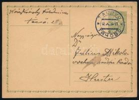 1934 Díjjegyes levelezőlap Técsőről Husztra kétnyelvű bélyegzéssel / PS-card with bilingual postmark